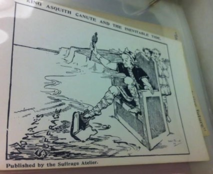 'King Asquith Canute And The Inevitable Tide', postcard published by the Suffrage Atelier, c.1910.