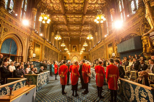 Photo of Royal Gallery just prior to the Queen's arrival for the State Opening of Parliament, 2014. Image: UK Parliament/Jessica Taylor