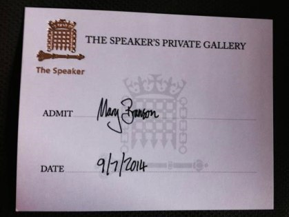My golden ticket to the Speaker's gallery. Image: Mary Branson