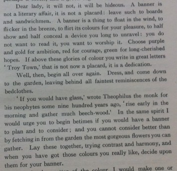 Inspirational words from the Mary Lowndes 'Banners and Banner-Making' (1909)